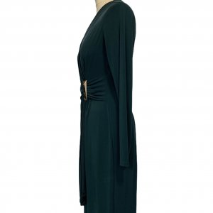 שמלת מעטפת בצבע ירוק בקבוק - CALVIN KLEIN 3