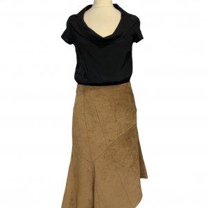 חצאית אסימטר, עור זמש חום - SISLEY 3