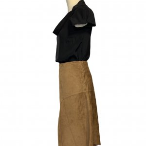 חצאית אסימטר, עור זמש חום - SISLEY 5