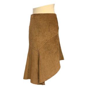 חצאית אסימטר, עור זמש חום - SISLEY 4