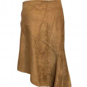 חצאית אסימטר, עור זמש חום - SISLEY 2