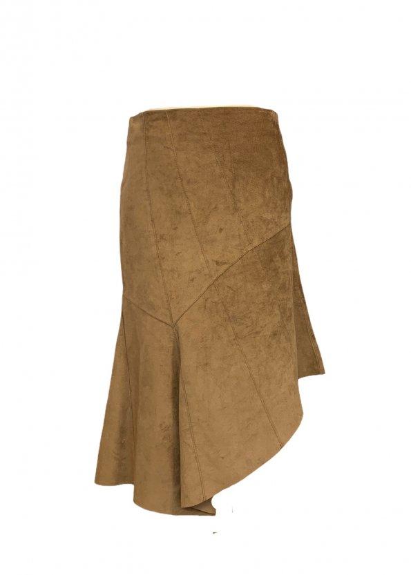 חצאית אסימטר, עור זמש חום - SISLEY 1