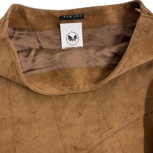 חצאית אסימטר, עור זמש חום - SISLEY 6