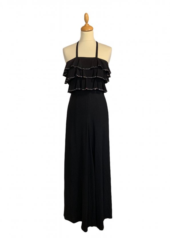 שמלת מקסי שחורה, ווtלנים עם יהלומים - TED LAPIDUS 1