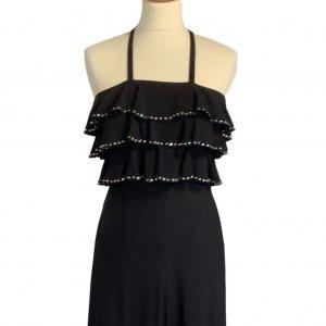 שמלת מקסי שחורה, ווtלנים עם יהלומים - TED LAPIDUS 3