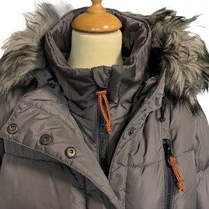 מעיל פוך עם כובע אפור ורוכסנים - KILLTEC 3