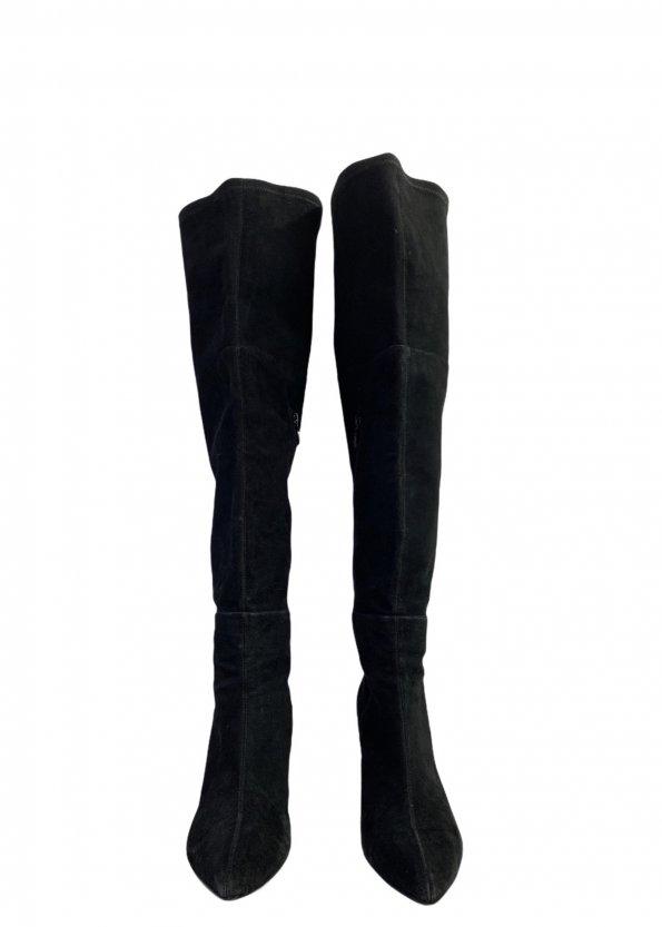 מגפיים על עקב, עור זאמש שחור - TAHARI 1