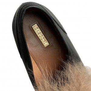 נעלי מוקסין עור שחור עם פרווה - BASCONI 4