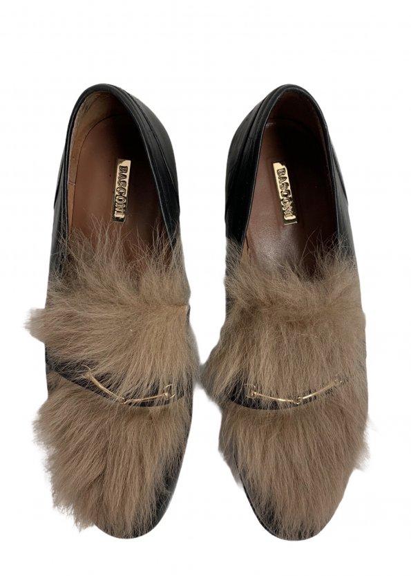 נעלי מוקסין עור שחור עם פרווה - BASCONI 1
