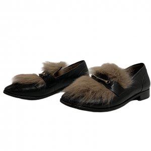 נעלי מוקסין עור שחור עם פרווה - BASCONI 2
