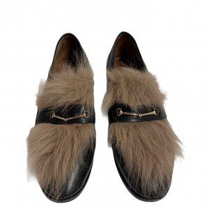 נעלי מוקסין עור שחור עם פרווה - BASCONI 3