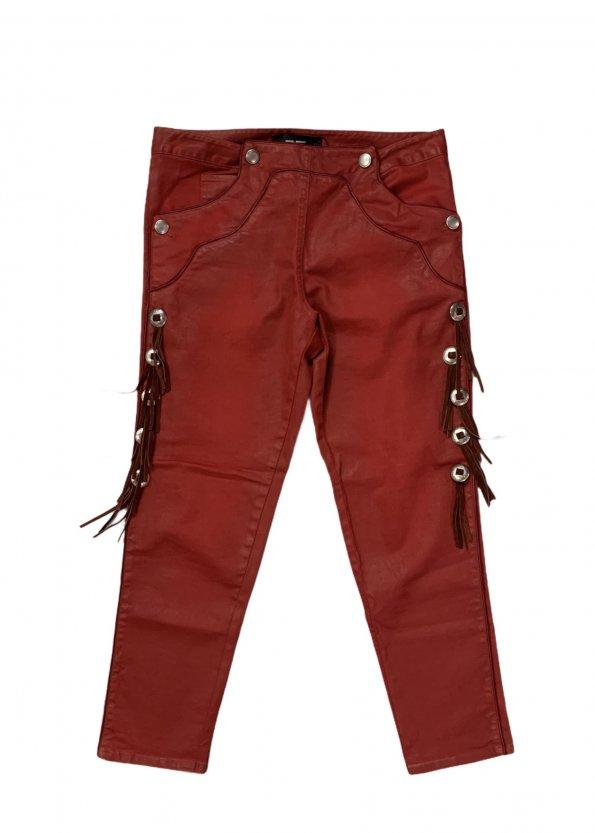 מכנס 3/4 אדום עם פרנזים ואבזמים מכסף - ISABEL MARANT 1