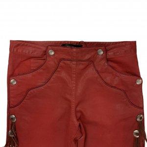 מכנס 3/4 אדום עם פרנזים ואבזמים מכסף - ISABEL MARANT 3