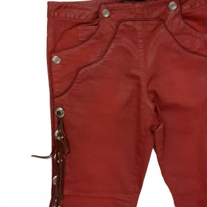 מכנס 3/4 אדום עם פרנזים ואבזמים מכסף - ISABEL MARANT 4