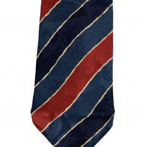 עניבה קווים אלכסוניים כחול אדום צהוב - BALLY 3
