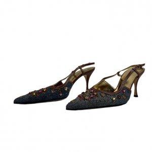 נעלי עקב מבד ג׳ינס עם אבני סברובסקי - Dolce & Gabbana 2
