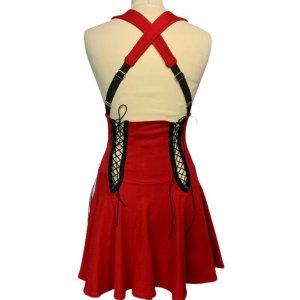 שמלת שלייקעס ומחוך בצבע אדום עם פסים שחור לבן בצד - ADIDAS 2