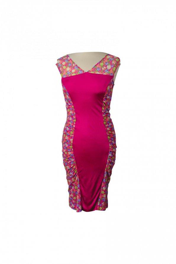 שמלה צמודה ורודה עם פרחים - VERSACE 1