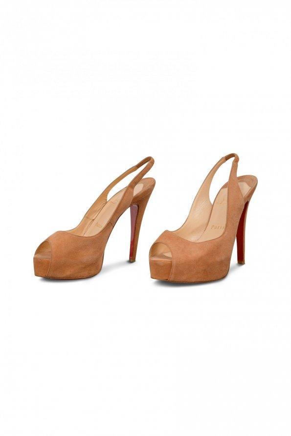 נעלי עקב זמש חום - Christian Louboutin 1