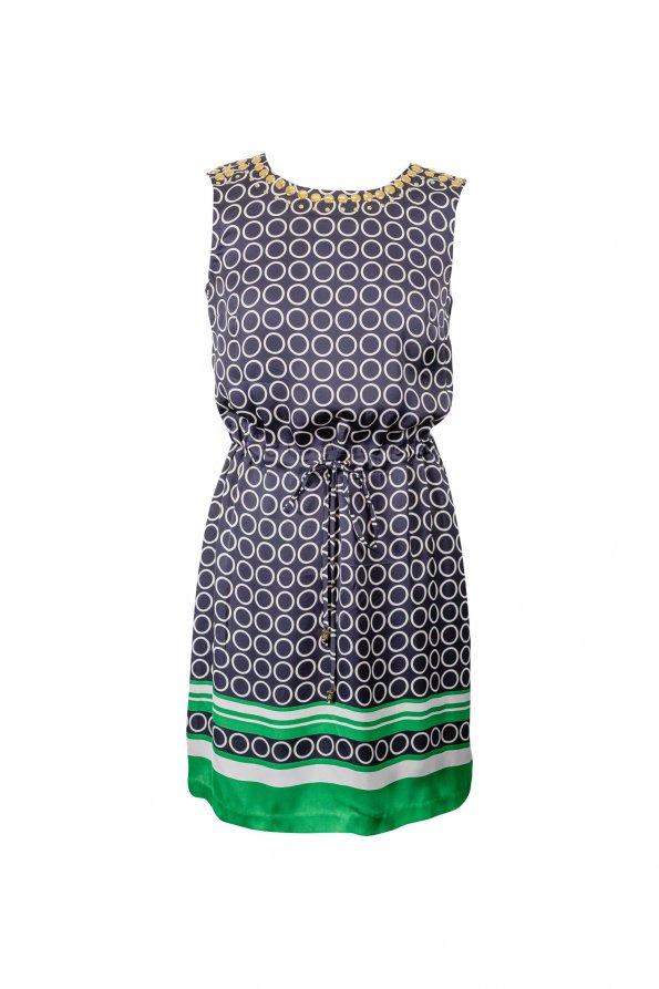 שמלה כחולה עם קשירה וקישוטי זהב - MICHAEL KORS 1