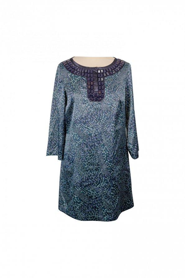 שמלת סאטן ירוקה עם אבני חן - MICHAEL KORS 1