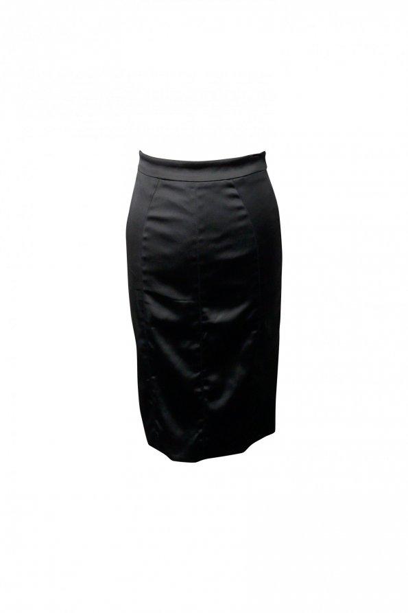 חצאית מידי סאטן שחור מבריק - D&G 1