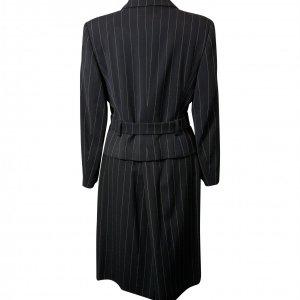 חצאית מחויטת שחורה עם פסים לבנים דקים - MANI 3