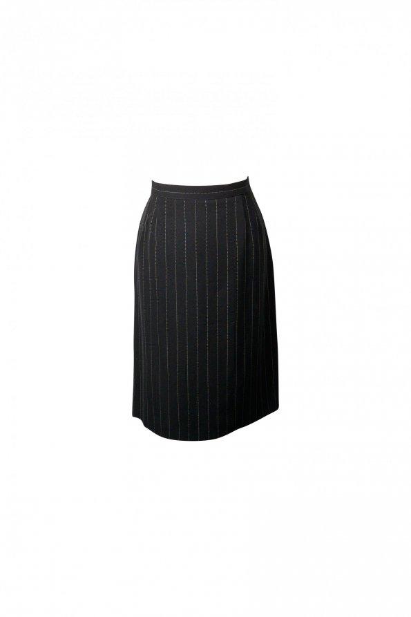 חצאית מחויטת שחורה עם פסים לבנים דקים - MANI 1