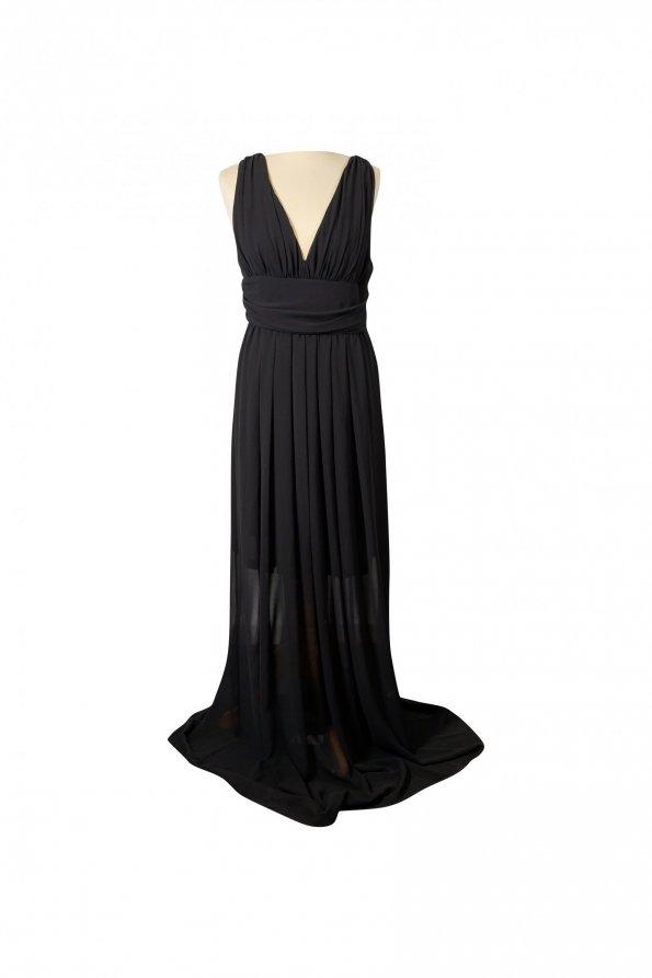 שמלת שיפון מקסי שחורה - EMME Marella 1