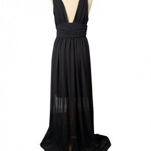 שמלת שיפון מקסי שחורה - EMME Marella 2