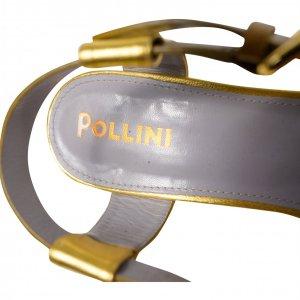 סנדליי עקב פלטפורמה, שחור חום ירוק זהב - POLLINI 3