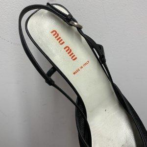 נעלי עקב שחורות עם רשת ופפיון - MIU MIU 6