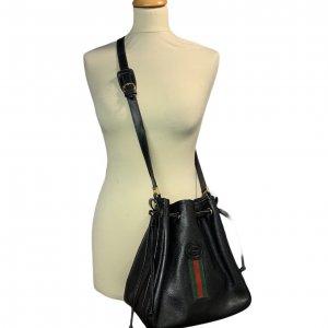 תיק כתף שחור עור וינטג׳ - Gucci 2