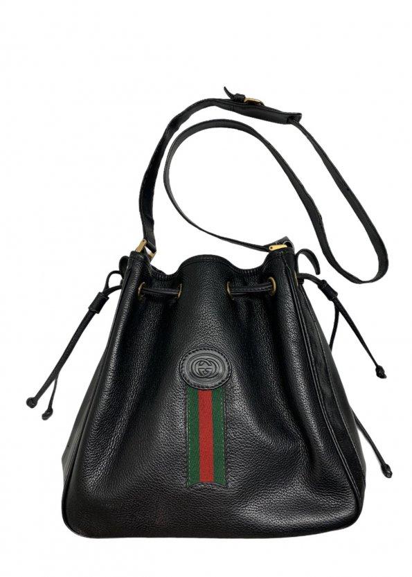 תיק כתף שחור עור וינטג׳ - Gucci 1