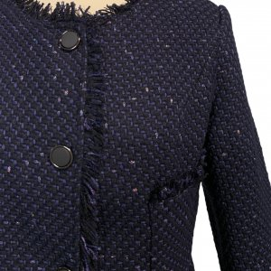 ג׳קט אריג כחול כפתורים שחורים מבד מקורי של - CHANEL 3