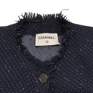 ג׳קט אריג כחול כפתורים שחורים מבד מקורי של - CHANEL 6