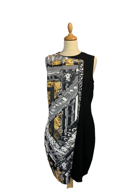 שמלה שחורה ללא שרוול שחורה עם הדפס בצד ימין אפור עם זהב - VERSACE VERSUS 1