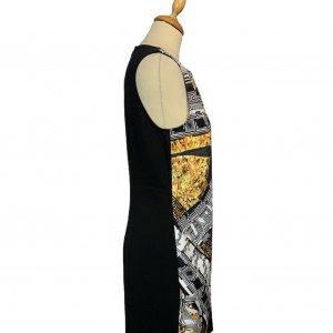 שמלה שחורה ללא שרוול שחורה עם הדפס בצד ימין אפור עם זהב - VERSACE VERSUS 3