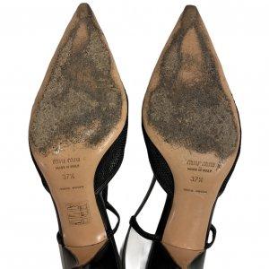 נעלי עקב שחורות עם רשת ופפיון - MIU MIU 5