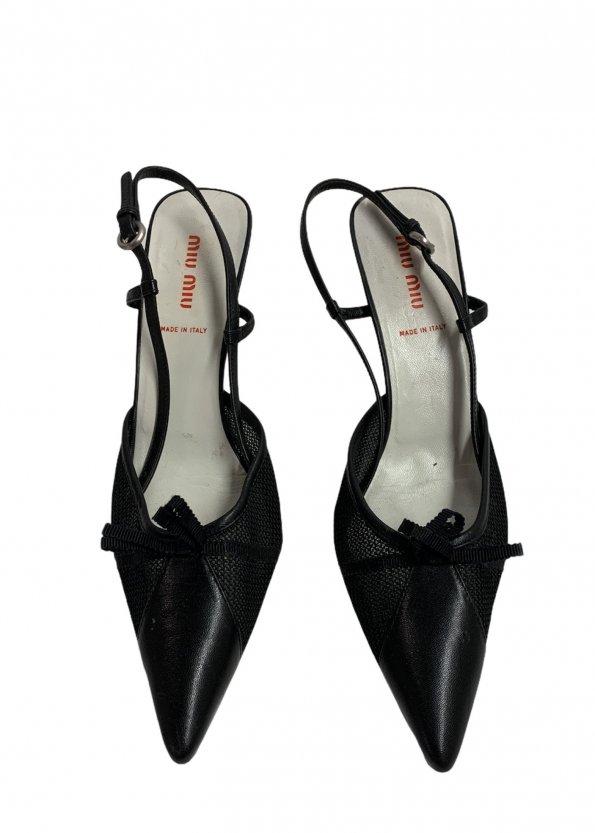 נעלי עקב שחורות עם רשת ופפיון - MIU MIU 1
