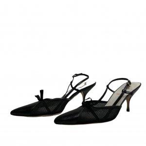נעלי עקב שחורות עם רשת ופפיון - MIU MIU 2