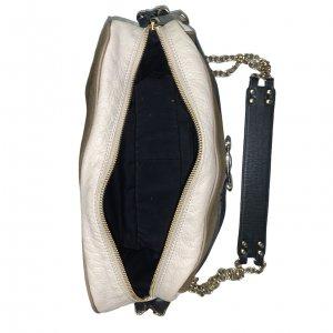 תיק עור מרובע בצבע שמנת חום ורצועה שחורה עם אבזם זהב - SCHUMACHER 5
