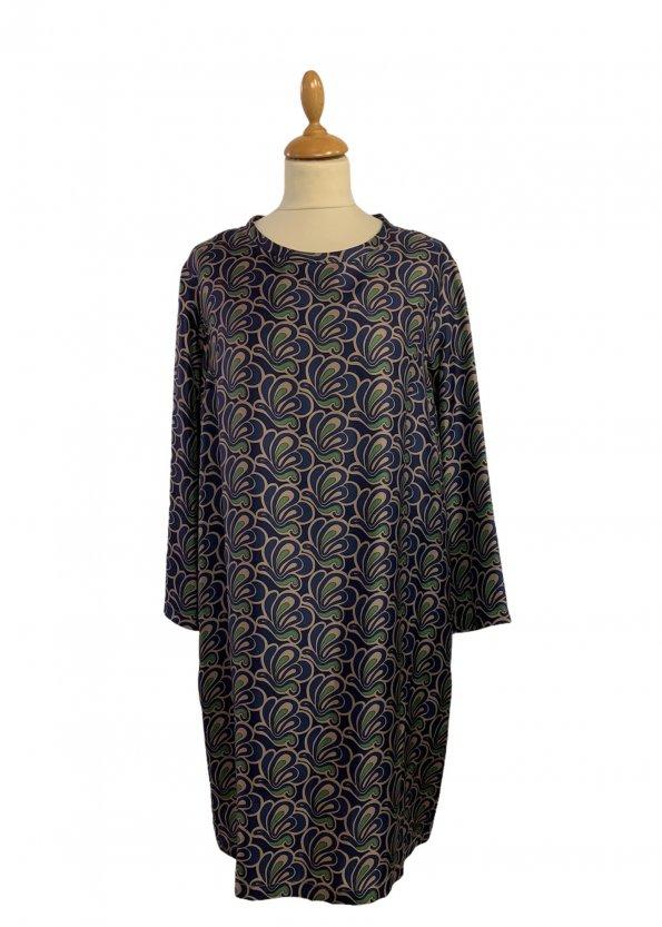 שמלה משי עם איורים כחולים כהים, חומים וירוקים - MAX MARA 1