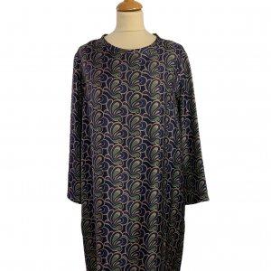שמלה משי עם איורים כחולים כהים, חומים וירוקים - MAX MARA 5