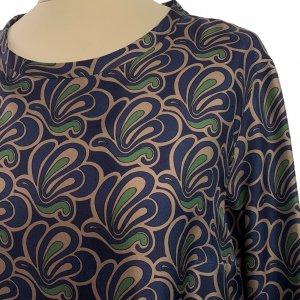 שמלה משי עם איורים כחולים כהים, חומים וירוקים - MAX MARA 4
