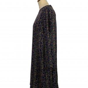 שמלה משי עם איורים כחולים כהים, חומים וירוקים - MAX MARA 3