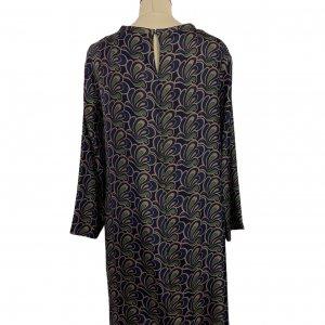 שמלה משי עם איורים כחולים כהים, חומים וירוקים - MAX MARA 2