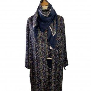 שמלה משי עם איורים כחולים כהים, חומים וירוקים - MAX MARA 6