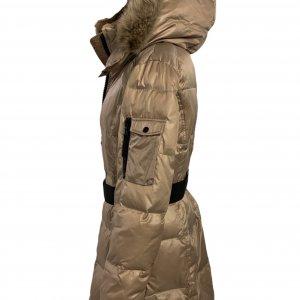 מעיל פוך בגוון זהב עם צווארון נשלף וכובע צמרירי - SAM 3