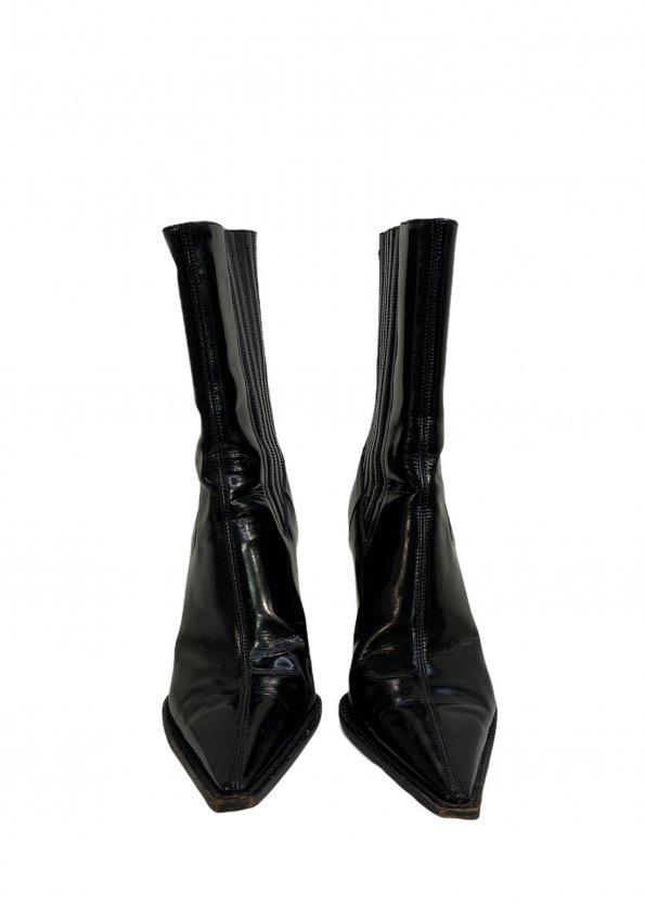 מגפיים עור שחור מבריק עם עקב ושפיץ - Dolce & Gabbana 1